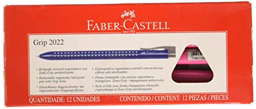 Faber-Castell Grip 2022-m Twist Retractable Ballpoint Pen Triangular 1Pi�ce (S)���(Twist Ballpoint Pens Retractable Ballpoint Pen, Pink, Rose, Pink, Plastic, Rubber)