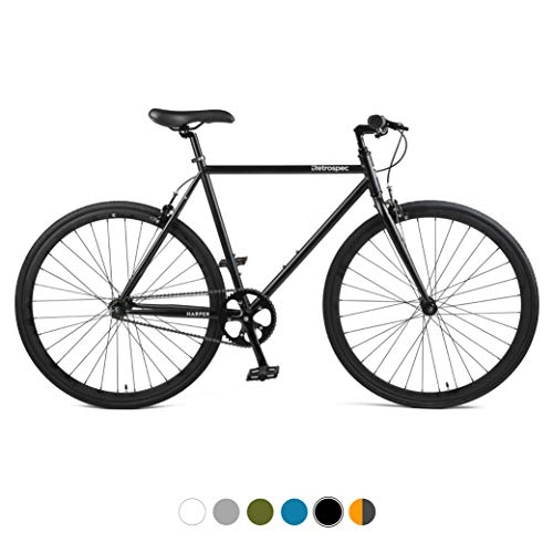Big Save! Retrospec Harper Single-Speed Fixed Gear Urban Commuter Bike, 53cm, m, Matte Graphite & Or...