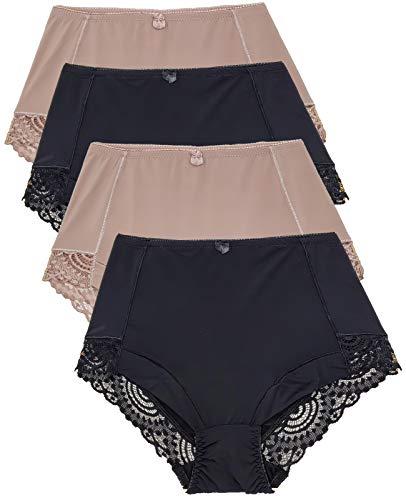 Barbra Lingerie Womens Briefs Underwear Tummy Control Panties S-Plus Size 4 Pack Girdle Panty (2XL)