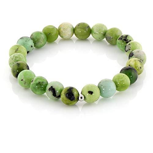 Pulsera serpentina verde, pulsera de cuentas serpentinas, pulsera elástica de serpentina, pulsera de chakra, pulsera de cuentas verdes