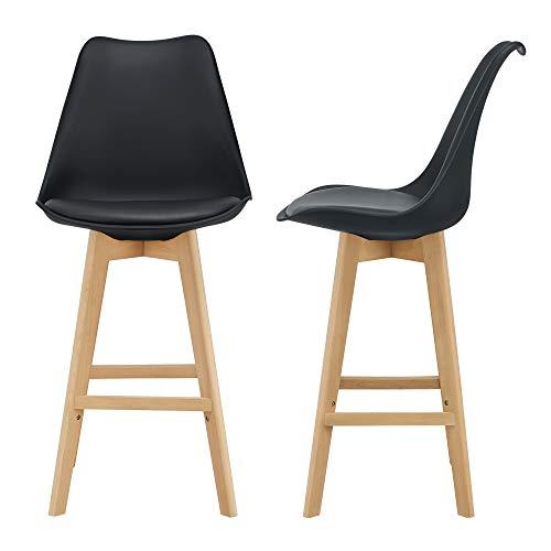[en.casa] Juego de taburetes de Bar 105 x 48 x 58cm Set de 2X Taburetes de Cocina de diseño Asiento Acolchado Patas de Madera Haya Negro