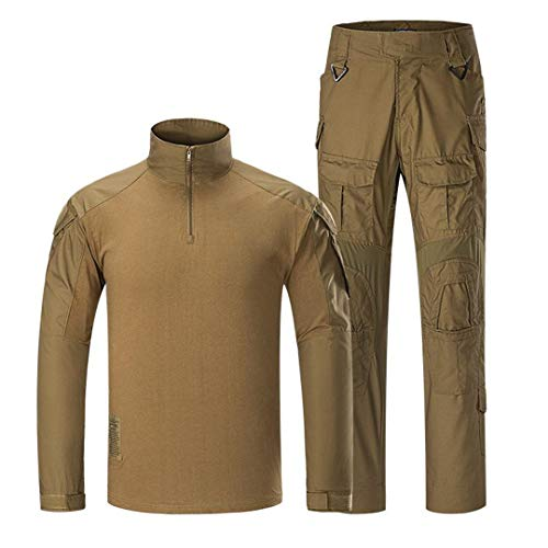 Armée Combat Costume Camouflage Hommes Tactique Ensembles de vêtements Uniformes Militaires imperméables Pantalon Cargo à Manches Longues T-Shirts Brown XXXL