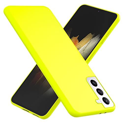 NALIA Neon Cover compatibile con Samsung Galaxy S21 Custodia, Sottile Protettiva Morbido Silicone Gel Copertura Antiurto, Case Resistente Telefono Cellulare Protezione Gomma Bumper, Colore:Giallo