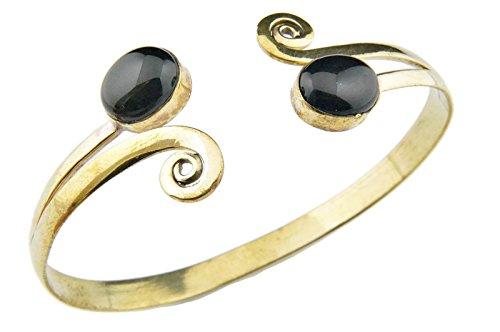 mantraroma Armreif Armband Messing golden Onyx schwarz (932-05-008-03)