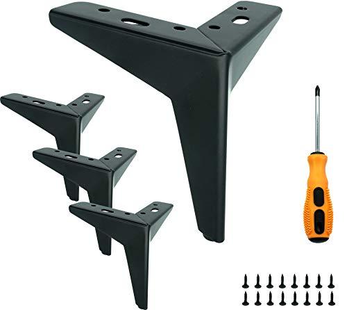 LONGZG 4 pieds de table noirs, pieds de meubles en métal DIY, pieds de meubles interchangeables adaptés pour armoire, canapé, table basse, meuble TV et autres meubles. (13 cm)
