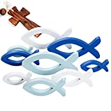 9pcs Peces de Madera Decorativos de 3 Tamaños Adornos de Madera para Decoración Adornos de Mesa Hogar Baño Jardín Blanco Azul Real Azul Claro