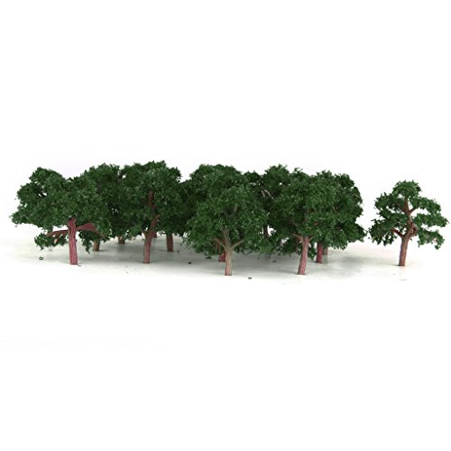 Baosity 25pcs Model Tree 4cm Green Train Railroad Architecture Diorama Z Scale for DIY Crafts or Building Models