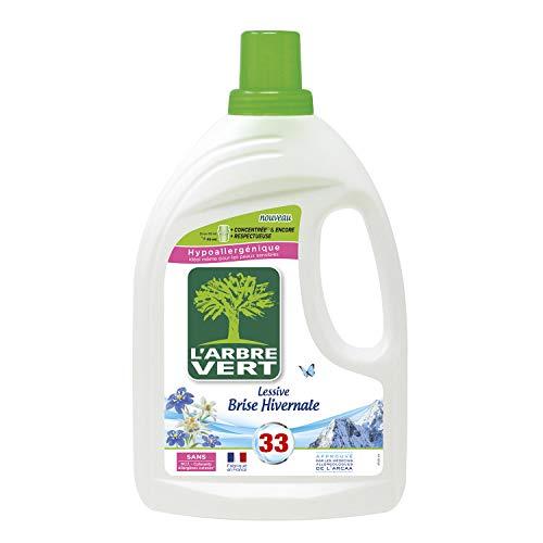 L'ARBRE VERT - Lessive Liquide Parfum Brise Hivernale - Hypoallergénique - Sans Allergènes - 33 Lavages - 1,5 L - Certifiée Ecolabel Européen - Approuvée par les médecins allergologues de l'ARCAA