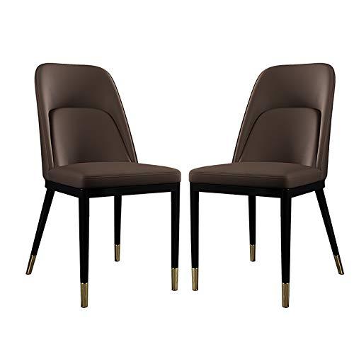 jjff Juego de 2 sillas de Comedor Conjunto Acolchado de sillas nórdicas con Respaldo Alto y Patas de Metal para Cocina, Restaurante, Sala de Estar, Muebles de Oficina