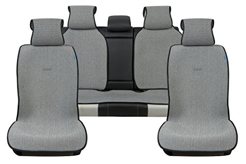Sojoy Universal Four Seasons Full Set of Car Seat Cover and Cushions Checkered (Black & White)