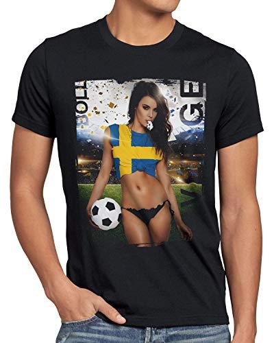 style3 EM 2020 Soccer Girl Deutschland Herren T-Shirt Fußball Trikot Germany Schwarz, Größe:XL, Land:Schweden
