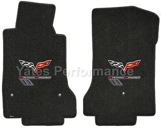 2010-2012 Corvette Grand Sport Ebony Black Floor Mats - Flags & Gray Logos