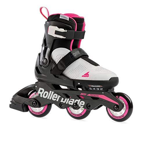 Rollerblade Microblade 3WD Inline Adjustable Roller Skates for Kids, Gray & Pink