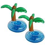 LUOEM Piscina Inflable sostenedor de la Bebida Palmeras Posavasos Jumbo Coconut Trees Drink Cup Holder Beach Backdrop favorece la decoración de la Fiesta para Hawaiian Luau Party (Paquete de 2)