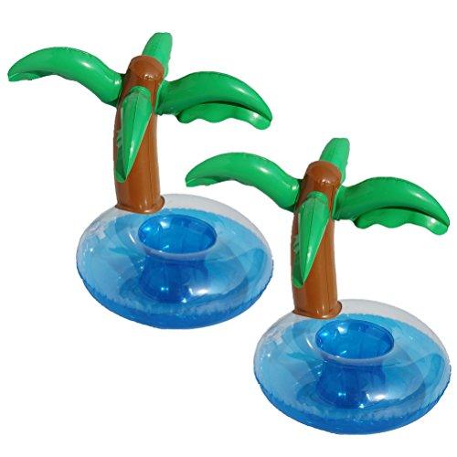 LUOEM Gonflables Boissons Titulaires Palmiers Boisson Flotteur Sous-verres Hawaiian Luau Party Faveurs Plage Piscine Toile de Fond Décoration 2 PCS