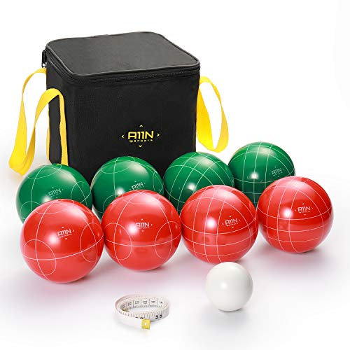A11N 107mm Regulation Bocce Ball Set with 8 Resin Balls in 2 Colors, Pallino, Carrying Bag, and Measuring Tape for Backyard, Lawn, Beach Game