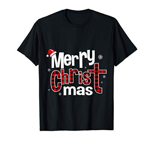 Merry CHRIST mas Red Plaid Cross Christian Jesus Christmas T-Shirt