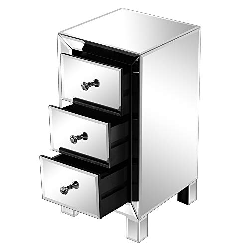 Mirrored End Table 3 Drawers Mirror Accent Side Table Silver Finished Nightstand for Living Room/Bedroom (23.6H''x11.8''Lx11.8'')