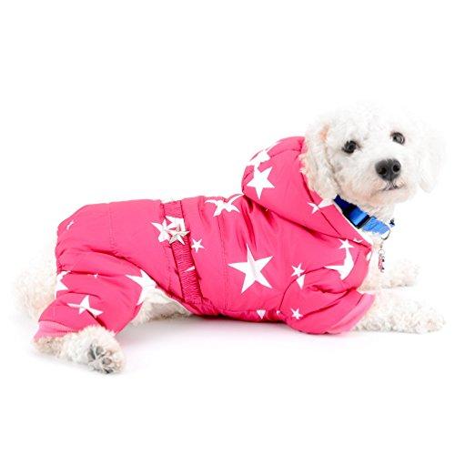 SELMAI Schneeanzug für kleine Hunde, Fleece-gefüttert, Sternengürtel, mit Kapuze, Jumpsuit, Vierbein-Hose, Wintermantel, Welpen, Hunde, Chihuahuas, Kleidung, Outfits