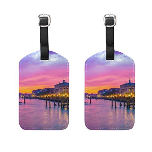 VORMOR Gepäckanhänger (Sortiert, 2 PK),Schöner Sonnenuntergang Venedig San Marco SquareGepäckanhänger, Kofferanhänger für Rucksäcke