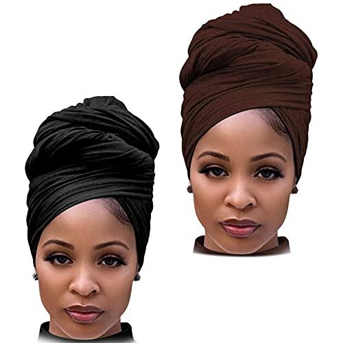 DRESHOW Haarwickel für Schwarze Damen Schal Turban Langes Haar Kopfwickel Schal Kopftuch Weiche Stirnband Schals Gap