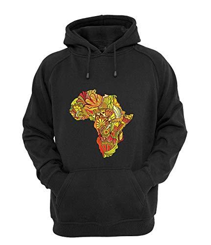 Nothingtowear Unisex Ethnic Floral Beautiful Africa Continent Map Kapuzenpullover Jumper Schwarz L
