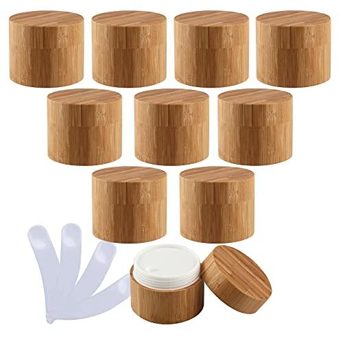 TIANZD 10 Pieza 100ml Envases Cosmética Bambú 100g Tarro deCosmética de Bambú con PP Plástico Interior Pote de Crema de Bambú para Cremas Hidratantes Loción Ungüento