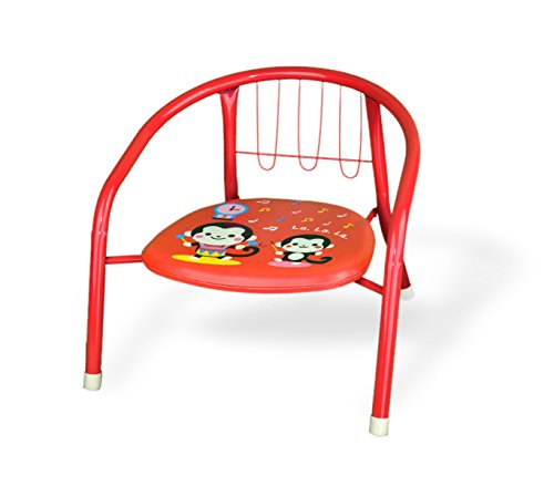 MEDIAWAVE Store Sedia colorata bambini in metallo 155352 con fischietto 15kg max 36x34x35 cm (Rosso)