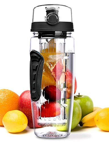 OMorc 32 OZ Sport Fruit Infuser Water Bottle, Flip Top Lid & Dual Anti-slip Grips, BPA Free Infuser...