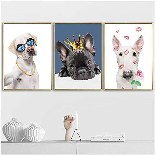 Zhaoyangeng Ballon Labrador Hond muur Kunst Canvas Schilderen Schattige Dieren Posters Muurfoto's Baby Kids kamer muur Decor- 50X70Cmx3 Geen Frame