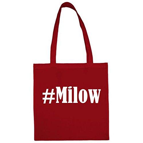 Tasche #Milow Größe 38x42 Farbe Rot Druck Weiss