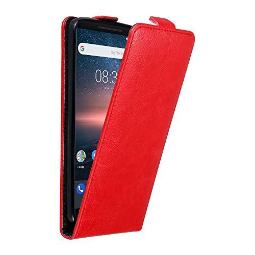 Cadorabo Hülle für Nokia 8 Sirocco in Apfel ROT - Handyhülle im Flip Design mit unsichtbarem Magnetverschluss - Hülle Cover Schutzhülle Etui Tasche Book Klapp Style
