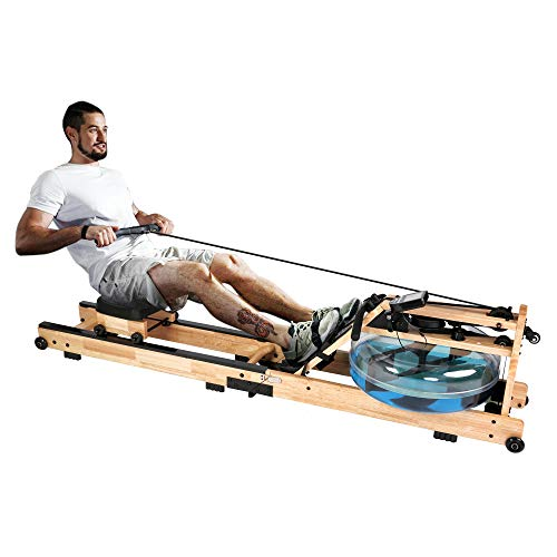 %9 OFF! LUCYKERMORE Oak Wood Water Rowing Machine for Home Use with Adjustable Pedal Exercise Equipm...