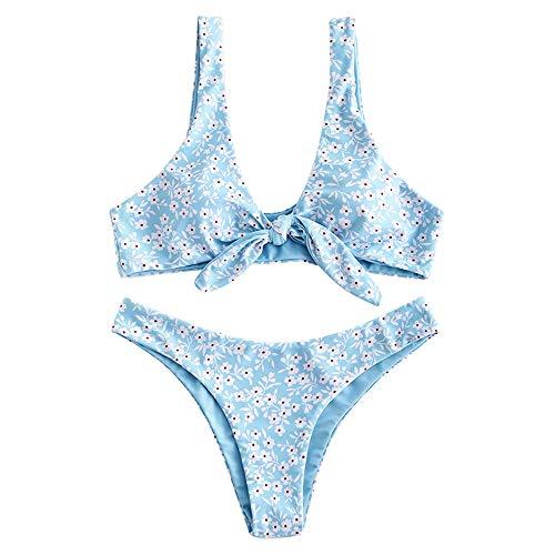 ZAFUL Damen Spaghetti-Träger Krawatte Knoten vorne Streifen Druck Streifen Badeanzug Natürliche Taille Solide Zweiteilige Bikini-Sets - - Small