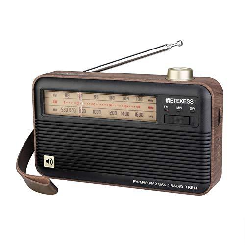 Retekess TR614 Radio Portátil, Radio Retro FM Am SW, Sonido, Buena Recepción, con Conector para Auriculares, Escuchando la Radio en la Escuela