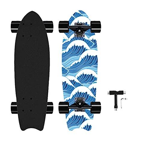 Cruiser 27Inch Complete Skateboard Mini Cruiser Skateboards Longboard for Kids Teens Adults (Blue)
