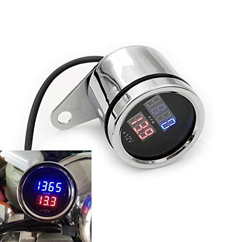 LIXUDECO Indicador de tacómetro Los nuevos Instrumentos de la Motocicleta de conversión Digital de cañón de electrones Que Tiene una Lengua tacómetro tensión 50CC-250CC (Color : Silver)