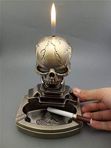 New Novelty Skull Shape Cigarette Cigar Ashtray Ash Tray with Refillable Lighter