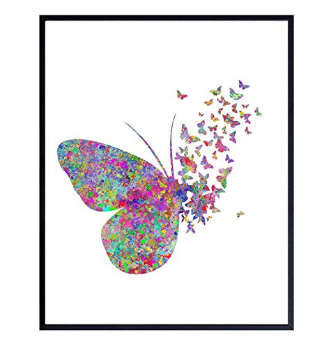 Butterfly Watercolor Style Wall Art Decor Picture for Nursery, Baby, Kids, Women, Girls, Room, Bedroom - Modern Home or Apartment Decoration or Great Gift - 8x10 Contemporary Photo Poster Print