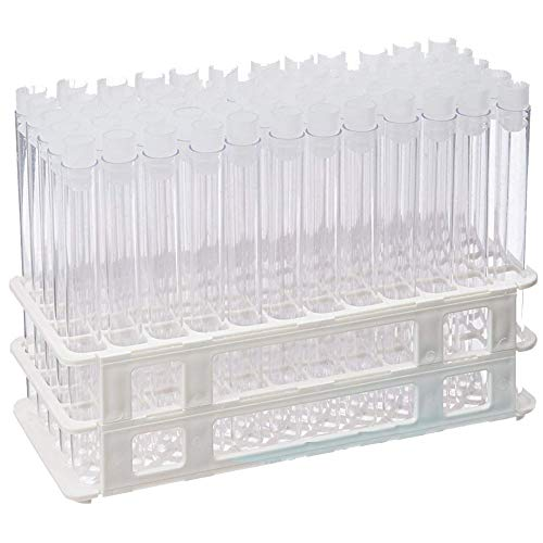 16x150mm Clear Plastic Tubes and 16mm Natural Flange Caps, with Rack Karter Scientific (Set of 60)