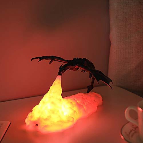 DEBEME 3D Printed Led Light, Blue Dragon Childrens Night Light, Bedroom Bedside Atmosphere Lamp, Soft Light Eye Protection USB Rechargeable