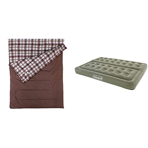 Coleman Hampton Double Sleeping Bag - Brown & Comfort Double Flocked Surface Inflatable Camp Air Bed - Green, 188 x 137 x 22 cm