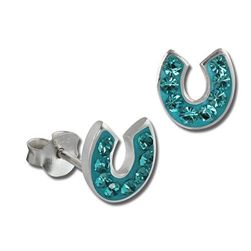 SilberDream Glitzer Ohrstecker Hufeisen 925 Sterling Silber mit Tschechischen Preciosa Kristallen türkis Ohrringe für Damen GSO603T
