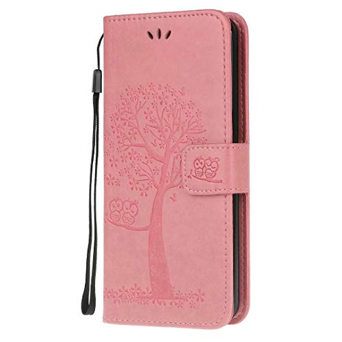 Nokia 2.4 Case, Flip Premium PU Leather Shockproof Wallet Phone Cases Embossed Owl Tree Folio Slim Fit Magnetic Protective Cover TPU Bumper with Stand Card Holder Slots for Nokia 2.4 Pink