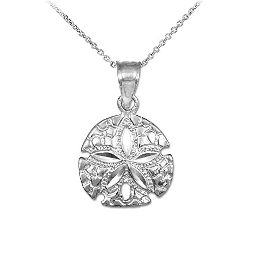 925 Sterling Silver Sea Star Sand Dollar Charm Pendant Necklace, 16'