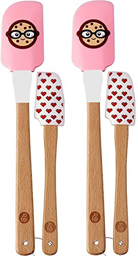 Heat Resistant Silicone Spatulas Set - Rubber Spatula Kitchen Utensils Non-Stick for Cooking, Baking and Mixing - Ergonomic, Dishwasher Safe Bakeware Set of 4 beechwood handles