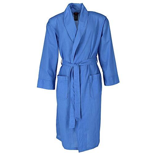 Hanes Men's Lightweight Woven Broadcloth Robe, XL/2XL, Blue