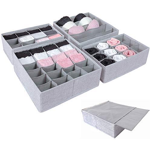 Simple Joy Schubladen Organizer für I K E A P a x ; Stabiler Boden; Stoffboxen für Socken, T-Shirts, Krawatten, Unterwäsche; Ordnungssystem grau, Aufbewahrungsbox 4er Set (Pax75)