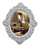 QHHALXZ Espejo de Maquillaje Espejo Ovalado Espejos de Pared Decorativos de Estilo Barroco, Espejo de baño 59x 60 CM, Espejo de baño Blanco Marfil de decoración Vintage