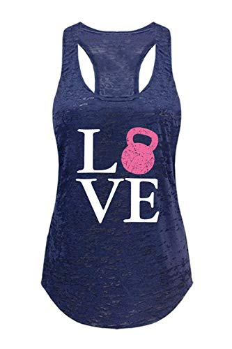 Tough Cookie\'s Damen Love Kettlebell Print Workout Burnout Tank Top - Blau - Groß